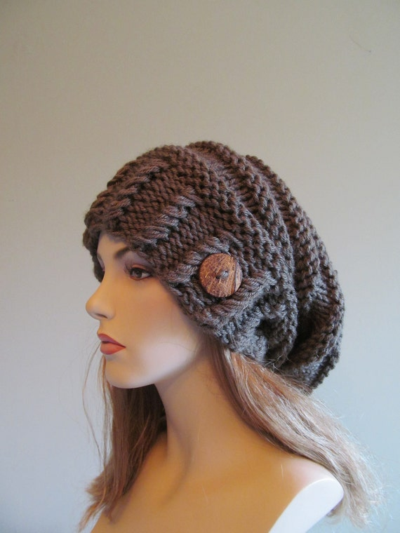 Slouchy Beanie Slouch Hats Oversized Baggy Beret Button womens fall winter accessory Taupe Grey Super Chunky Hand Made Knit