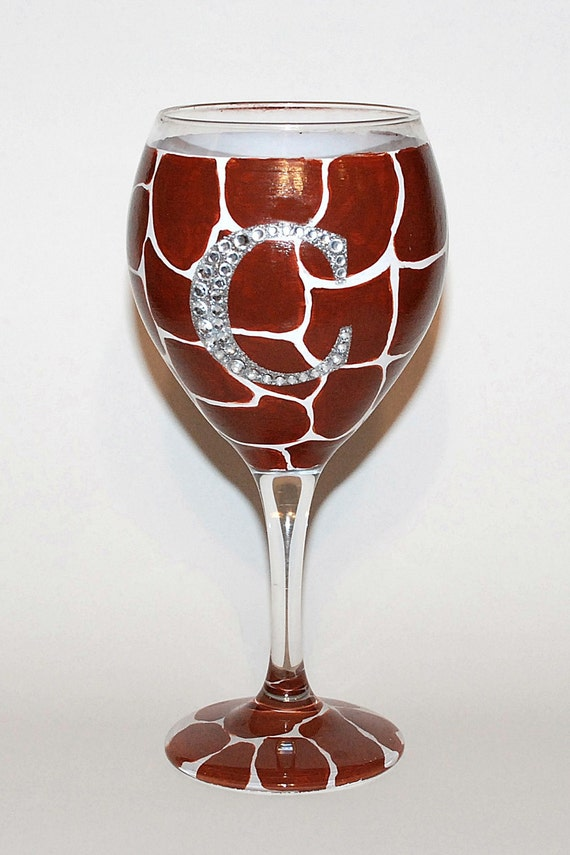 Hand Painted Giraffe Wine Glass With Bling Initial