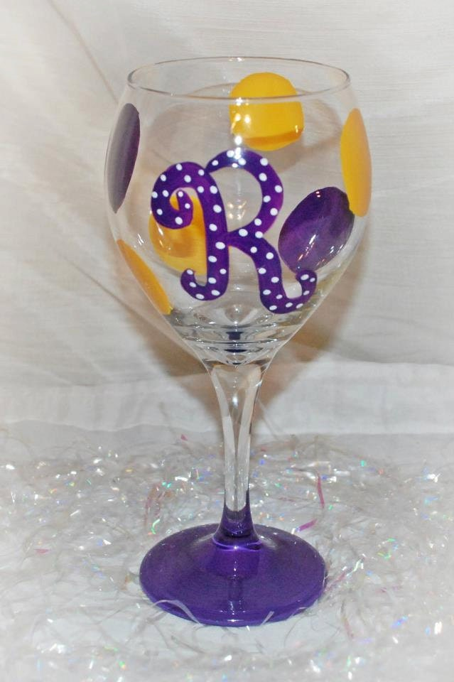 Polka dotted initial hand painted wine glass for Painted wine glasses with initials