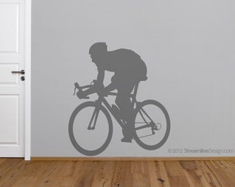 Bicycle Enthusiast Removable Vinyl Wall Art, cycling riding a bike cyclist wall sticker road bicycle outdoor sports bike sports