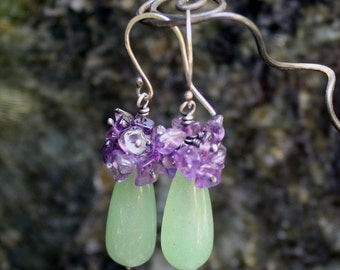 Sterling Silver Earrings, Clearance, Green Aventurine and Amethyst Flower Teardrop Earrings, Green Purple Earrings, Wire Wrapped Earrings