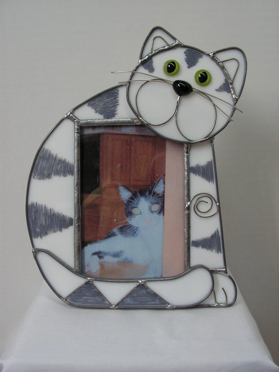 MEOW says the kitty,  Stained Glass Picture Frame