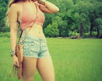 Handmade Peach Crochet Halter Top, 100% Cotton Bikini Top, Hippie Top, Crop Top, Festival Top,