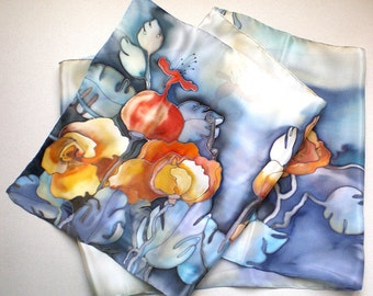 Autumn silk scarf with blue, garnet, yellow  colors. Silk scarf with autumn motives. Hand painted silk scarf. Made to order.