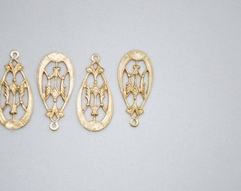 Oval Victorian Brass Drops 4pc