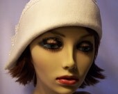 Cloche 1920s Inspired Off White Wool Felt  with Lace for Women