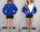 80's Blue Sweater // Blue and White Ivory Sweater // Royal Blue Vneck Sweater, Triangle and Beaded Sweater // Angora Sweater