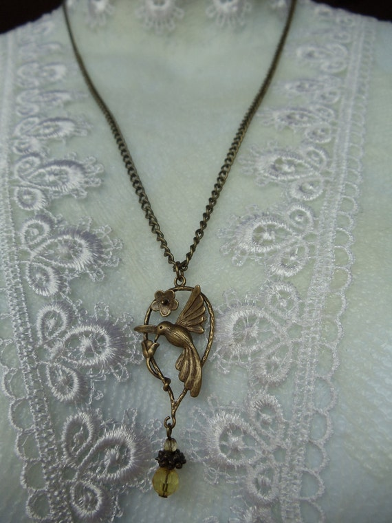 Hummingbird  Necklace, Bronze Necklace with humminbird on bronze chain