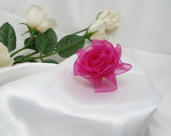 Small Iridescent Fuchsia Organdy Ribbon Rose