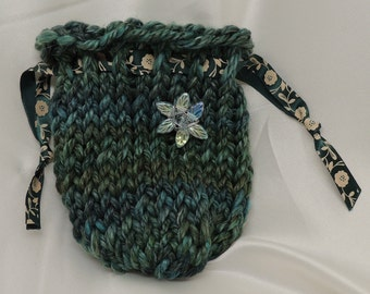 Blue Green Loom Knit Bag Drawstring Bag