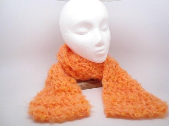 Fuzzy Orange Crocheted Fall Scarf