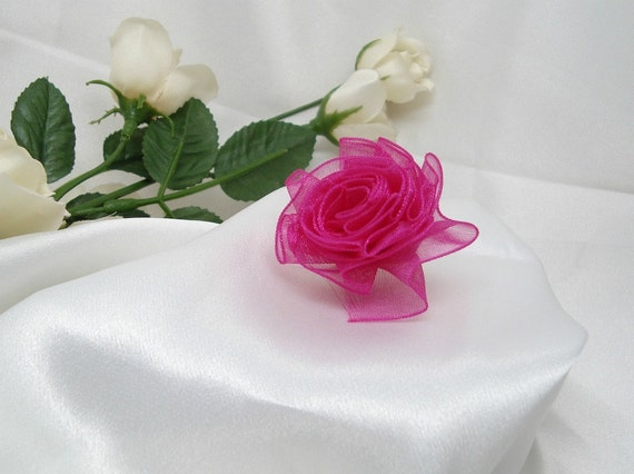Small Iridescent Fuchsia Organdy Ribbon Rose