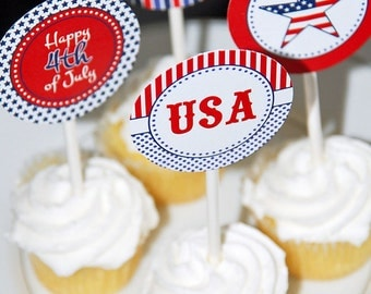 """Instant Download - Printable 2"""" Party Circles - 4th of July Collection"""
