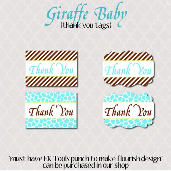 Thank You Tags Giraffe Baby Shower - Printable - Instant Download