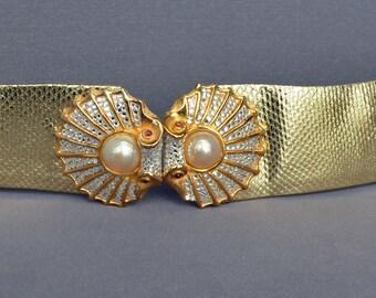 Vintage JUDITH LEIBER Belt Gold Rhinestone Pearl Signed