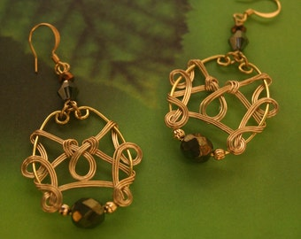 Brass Celtic Style Earrings With Olive Green Faceted Beads
