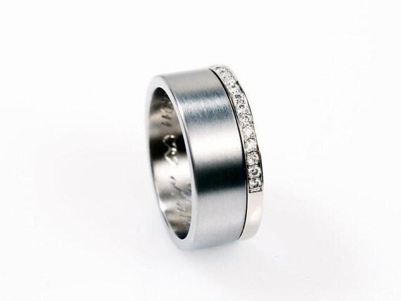 Palladium wedding ring set, Wedding band set,  custom, Engagement, Diamond, Ring, Promise, wedding set, Band, pave, unique diamond ring