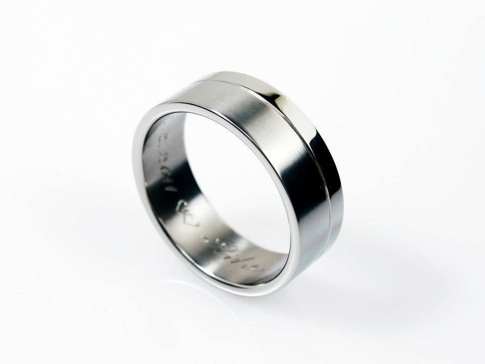 Wedding Band Men White Gold Mens Wedding Band Matte