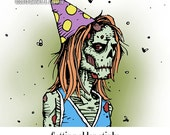Melancholy Greetings - Zombie birthday card (blank inside)