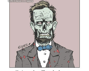 Melancholy Greetings - Zombie Abe Lincoln greeting card (blank inside)