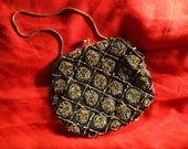 FOR JAMIE ONLY-Vintage 1950's Black Grande Maison Blanche Beaded Cocktail Purse