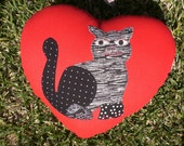 Valentine's Day ETSY SALE, children's cotton pillow, cat lover cushion, huggable red heart with appliqued, ready to ship.