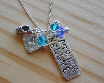 Hand Stamped Mother's necklace in Sterling Silver with Swarovski crystals