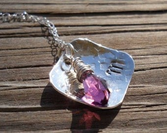 Hand stamped sterling silver pendant, with a sterling silver wire wrapped amethyst swarovski crystal drop