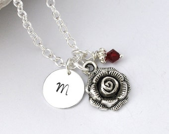 Initial Necklace Silver rose flower Charm Personalized Initial Necklace flower charm, flower necklace, rose, monogram necklace, initial coin