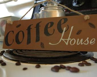 coffee house wood sign