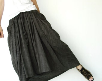 NO.40 Olive Green And Skinny Cream Dotted Lines Cotton High Low Skirt