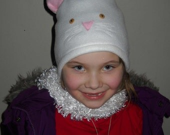 Cat Fleece Hat with Scarf Tail