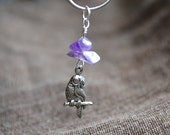 Amethyst Athenian Owl Necklace in Silver