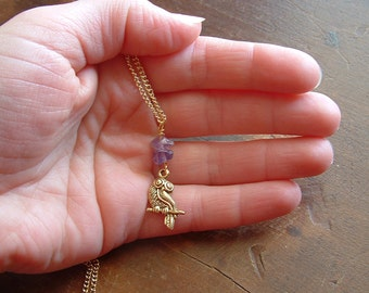 Amethyst Athenian Owl Necklace