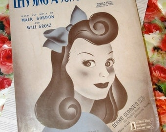 Vintage 1943 Let's Sing a Song About Susie Sheet Music 1940s Cover Art