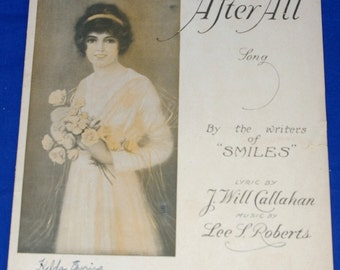 Vintage 1919 After All Sheet Music Color Cover Art
