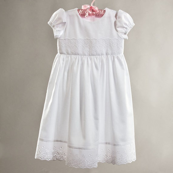 Baptism / Christening baby girl cotton dress size 12 - 18 months, kids eco friendly, white baby dress, first birthday girl dress