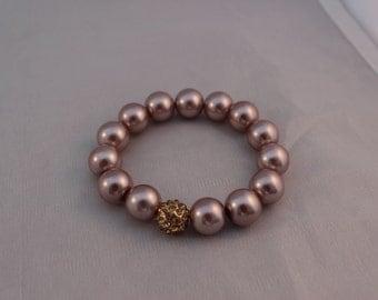 Sale Rose Mauve Pave Bead Bracelet