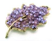 Vintage Leaf Brooch with Lavender Seed Beads