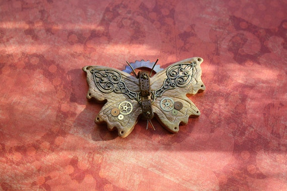 "Steampunk Polymer Clay Butterfly Pendant in Wood Effect - ""Wild West Butterfly"""