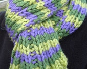 Chunky hand knitted Long Striped Shades of Green and Purple Scarf - can be worn as a neck warmer as well-