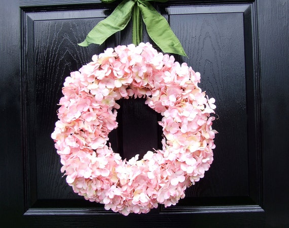 Pale Pink Hydrangea Wreath with Sage Green Ribbon