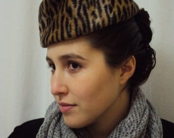 CLEARANCE PRICE Hat of Hare Felt with Faux Leopard Print Designed by David in 1983