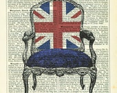Jubilee Union Jack Chair Dictionary Art Print Vintage Upcycled Book Page Collage