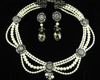 Victorian Inspired Bridal Jewelry Set - Make to order