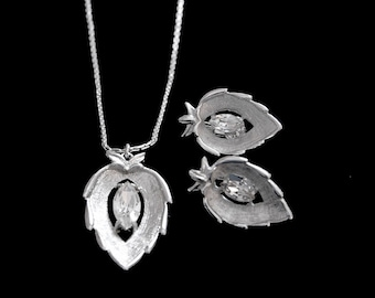 """Sarah Coventry Crystal """"Navette"""" Parure, Pendant and Clip-back Earrings"""