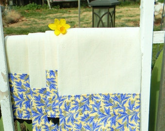 Kitchen Towels Handmade Cotton Muslin Kitchen Dish Towels with Blue Leafs and Yellow Flowers Country Chic