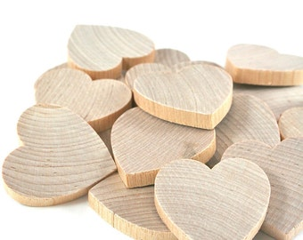 Unfinished Wood Hearts - 25 pack | 1.5 inch Wooden Hearts, Blank Wood Heart for Wedding Guest Book Favors, Valentines Day Crafts