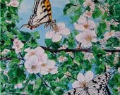 Original Butterfly Painting - Paper Kite and Tiger Swallowtail  by artist Konnie Laumer