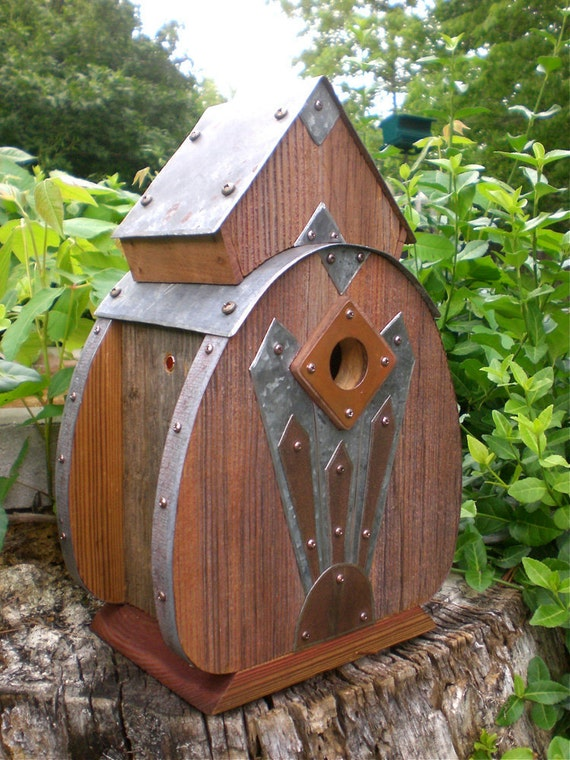 Radio 2: Art Deco Birdhouse Made of Reclaimed Barn Wood and Tin Roofing--MADE TO ORDER